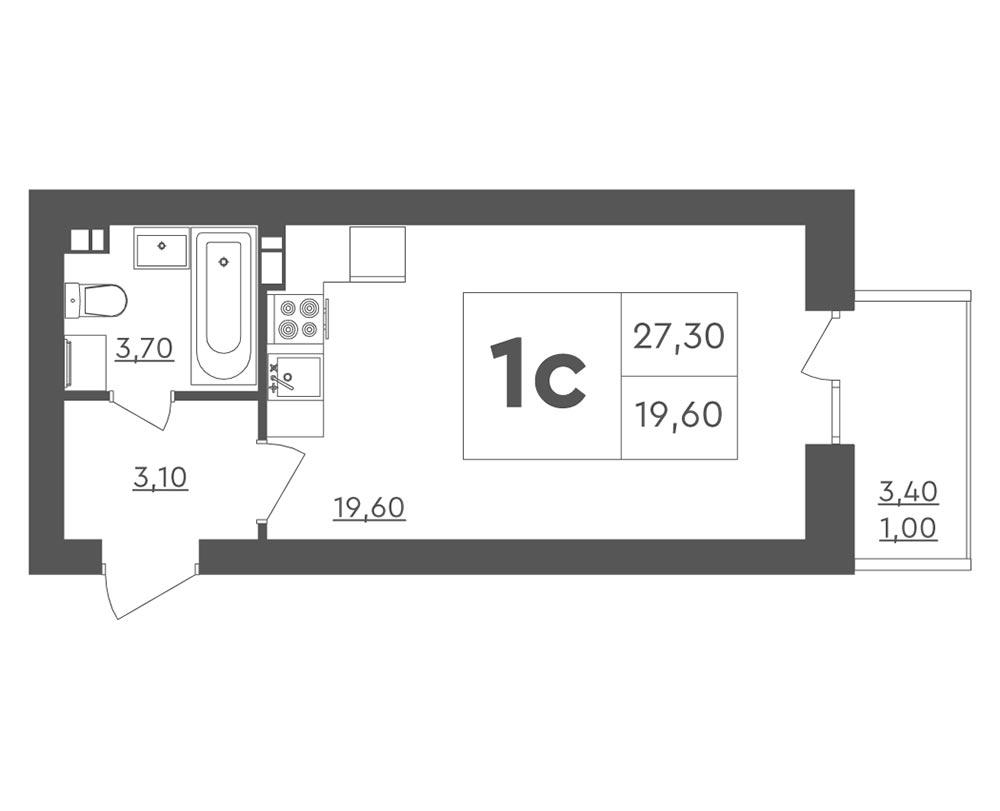 1-кімнатна квартира (27,30 м2)