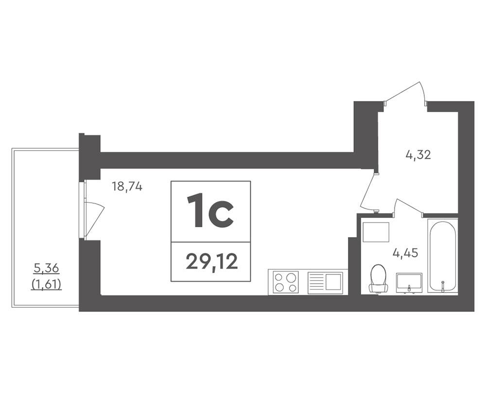 1-кімнатна квартира (29,12 м2)