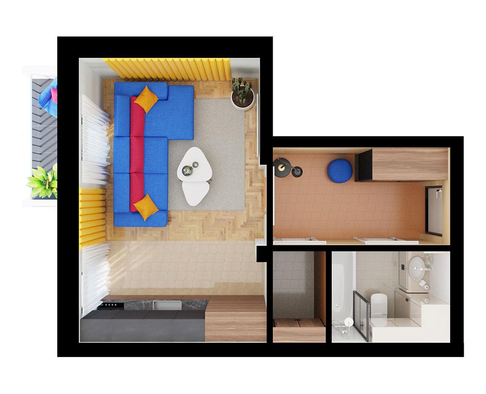 1-комнатная квартира (35,37 м2)
