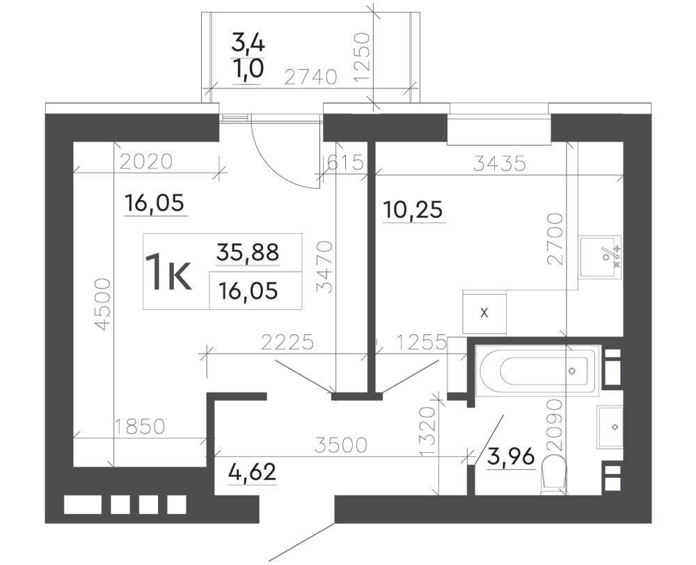 1-кімнатна квартира (35,88 м2)