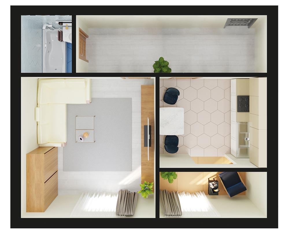 1-кімнатна квартира (38,34 м2)