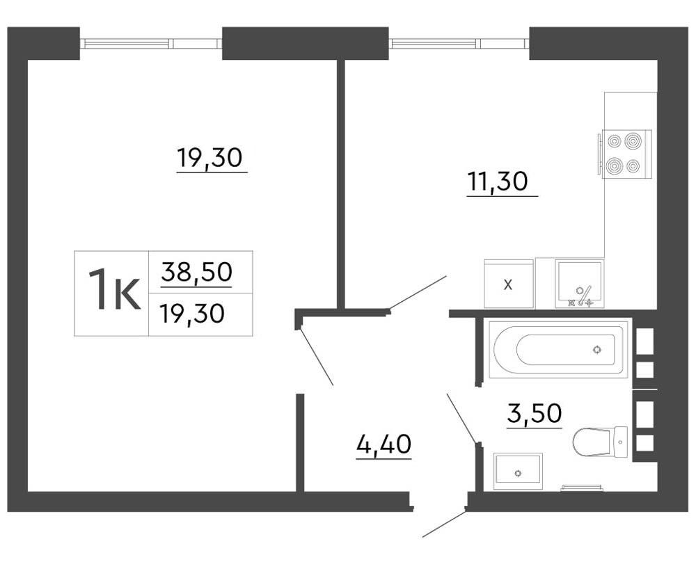 1-кімнатна квартира (38,50 м2)
