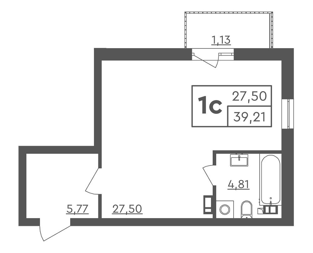 1-кімнатна квартира (39,21 м2)