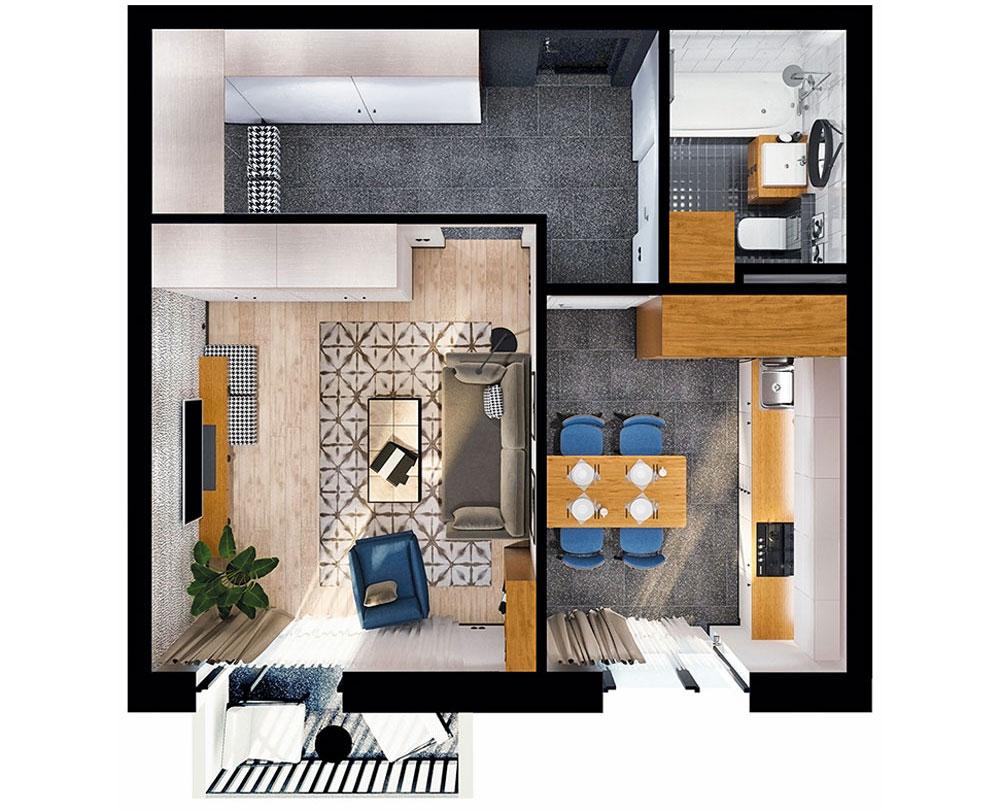 1-комнатная квартира (40,65 м2)
