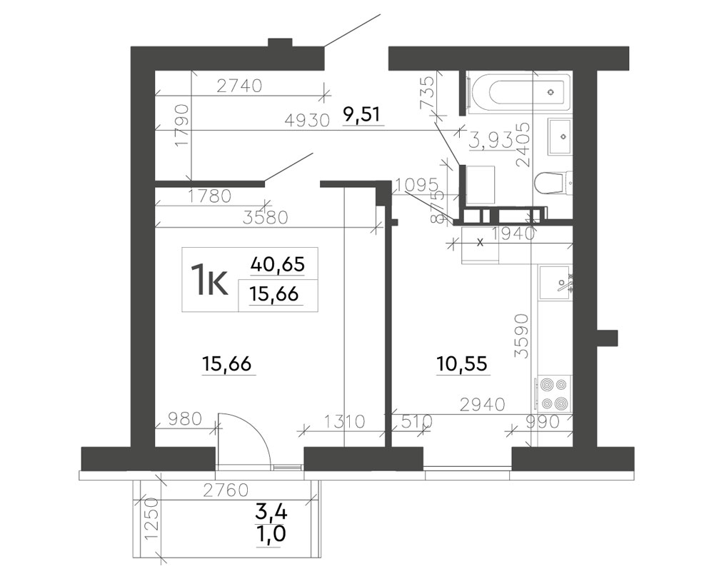1-кімнатна квартира (40,65 м2)