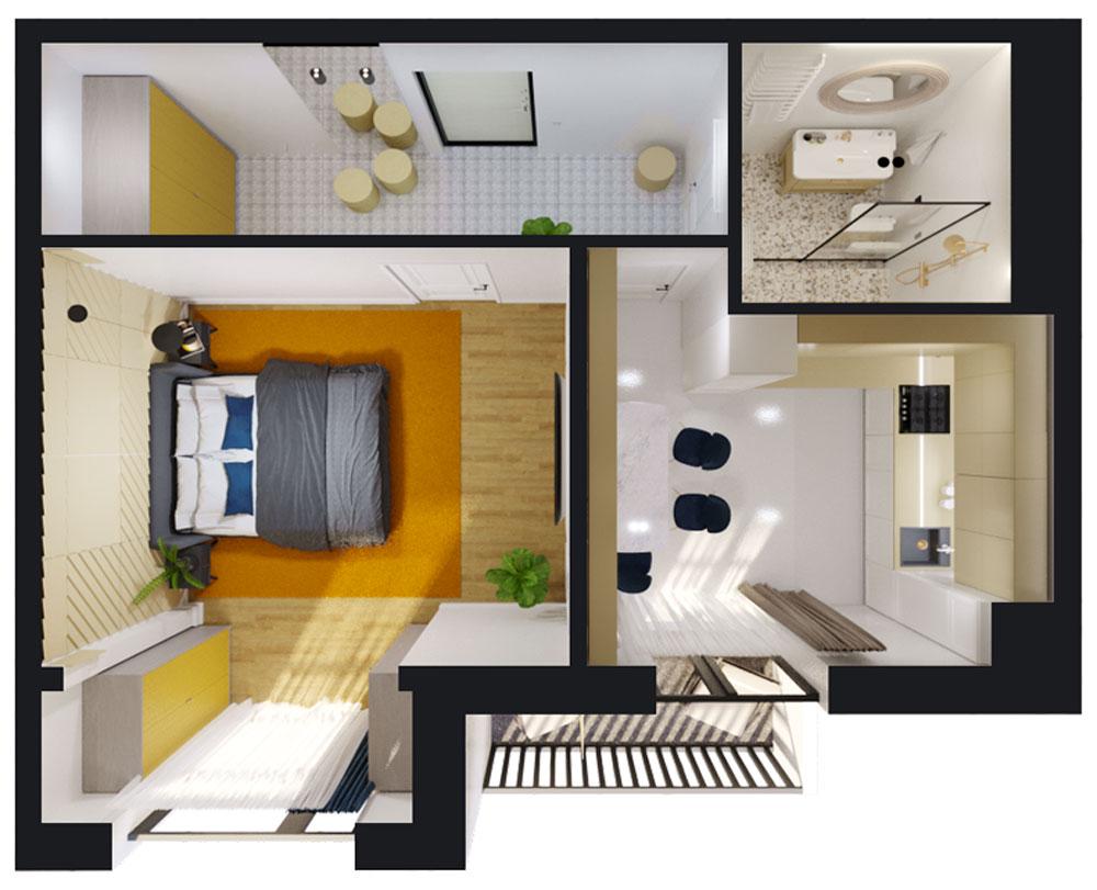 1-кімнатна квартира (41,00 м2)