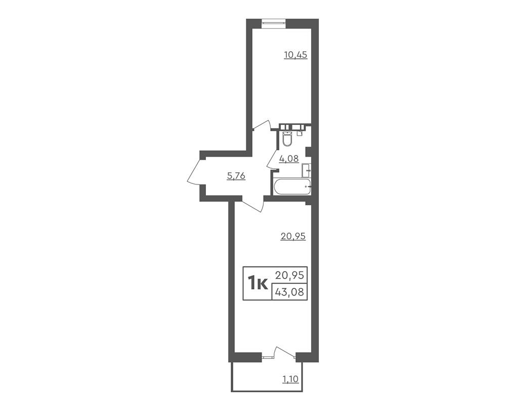 1-кімнатна квартира 43,08 м2