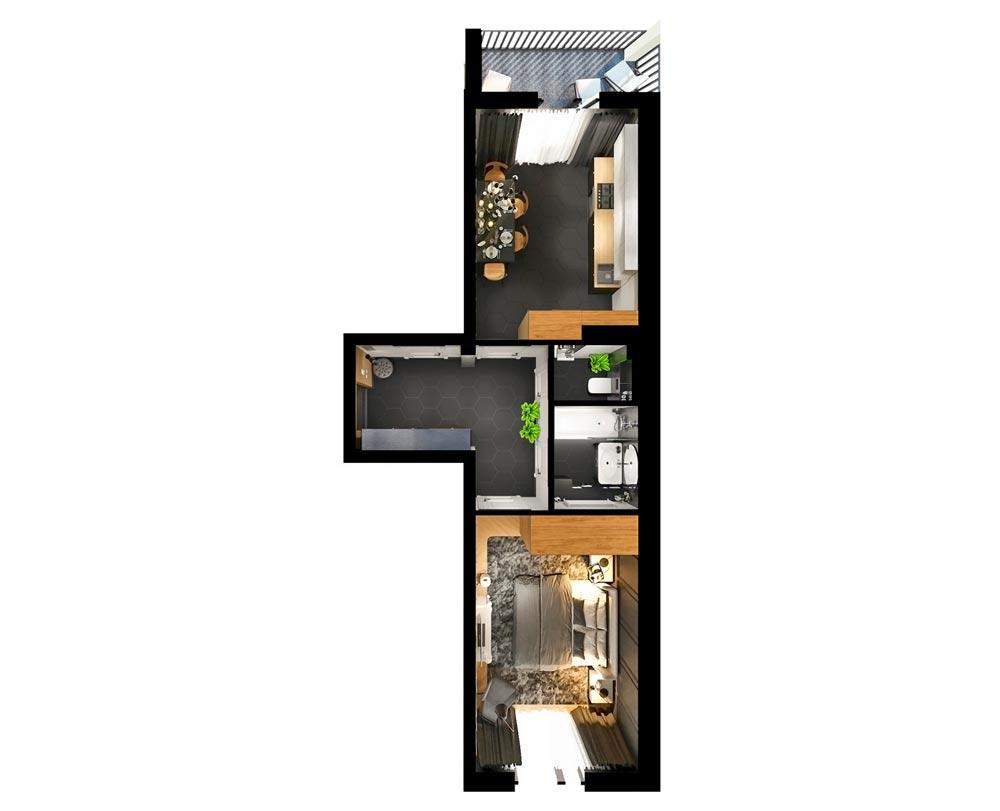 1-кімнатна квартира (45,26 м2)