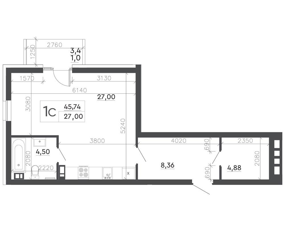 1-кімнатна квартира (45,74 м2)