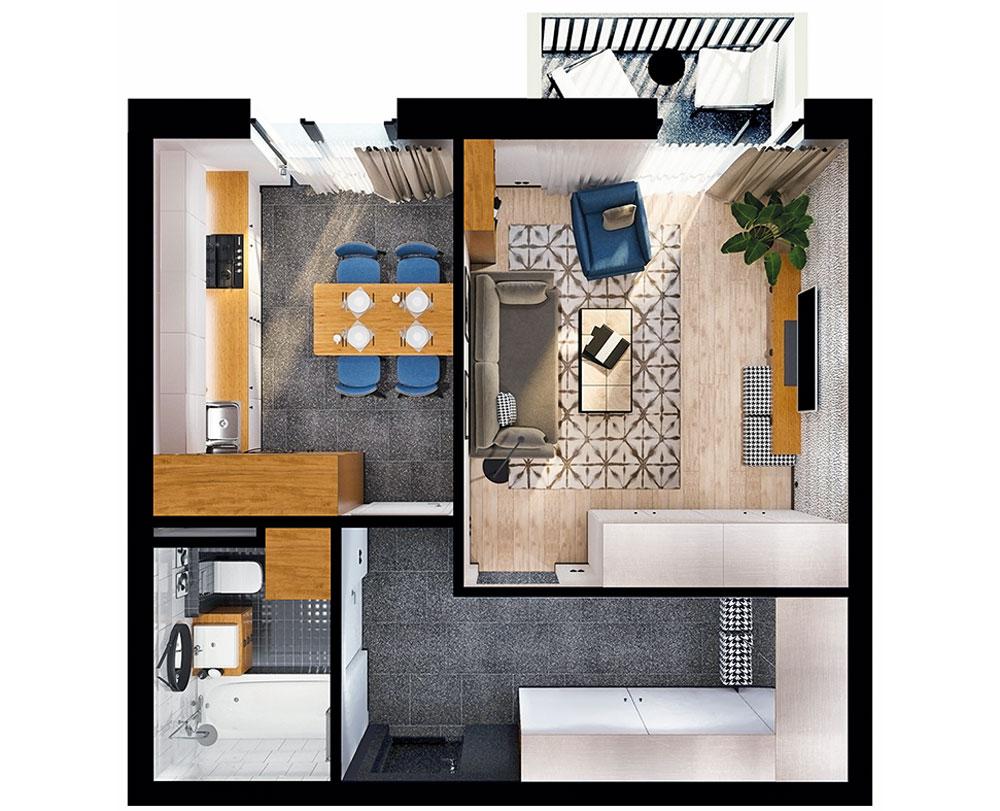 1-кімнатна квартира (46,04 м2)