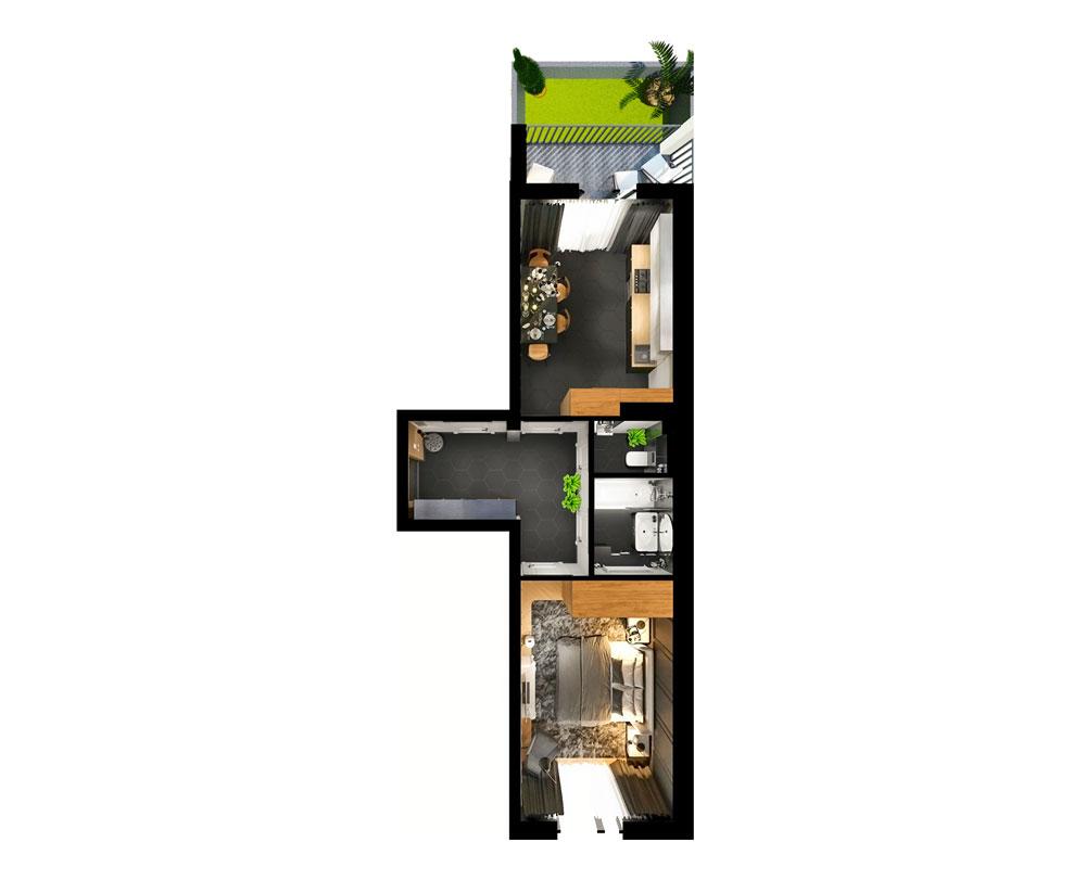1-комнатная квартира (47,18 м2)