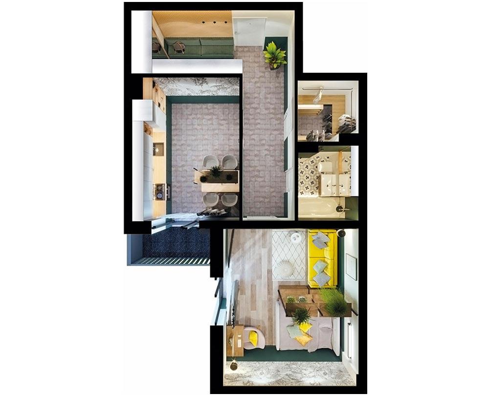 1-кімнатна квартира (54,47 м2)