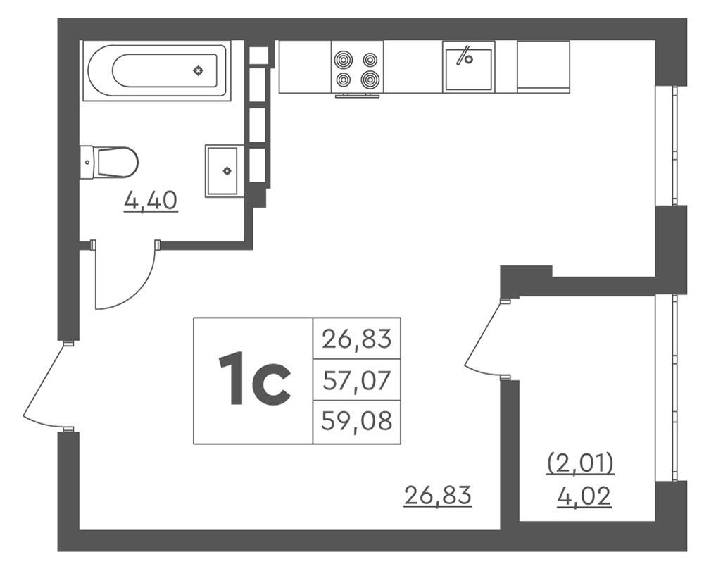 1-кімнатна Scandia (59,08 м2)