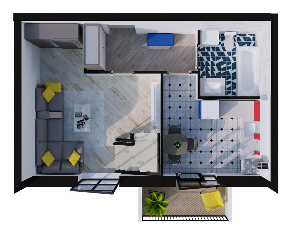 1-комнатная Scandia 70,48 м2