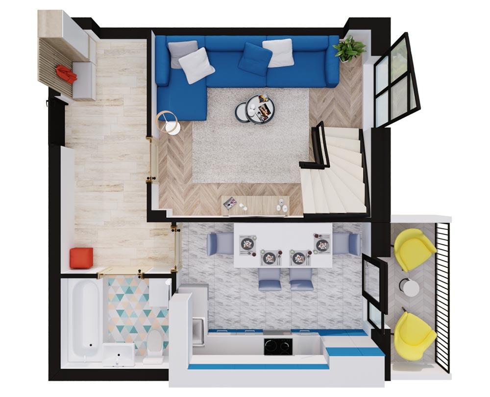 1-кімнатна Scandia (71.30) м2