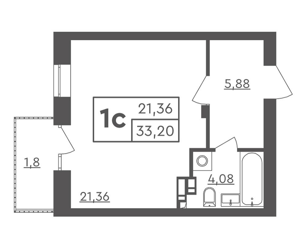 1-комнатная квартира (33,20 м2)