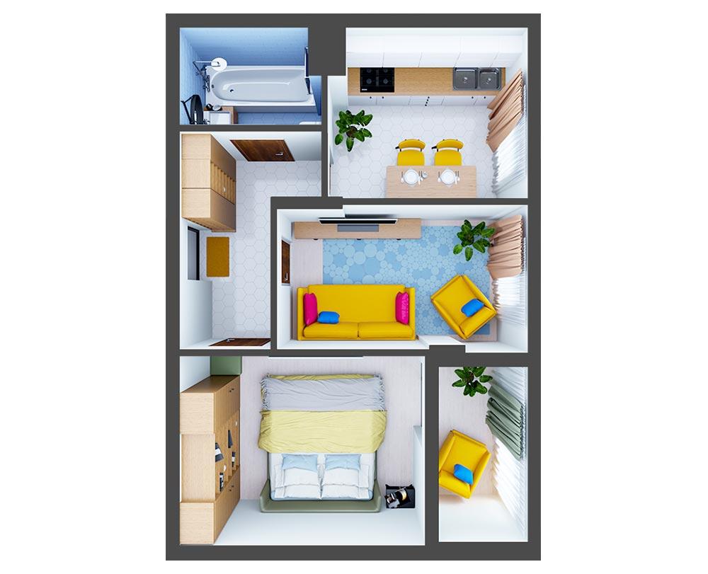 2-комнатная квартира (47,90 м2)