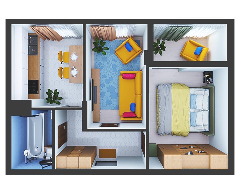 2-кімнатна квартира (50,51 м2)
