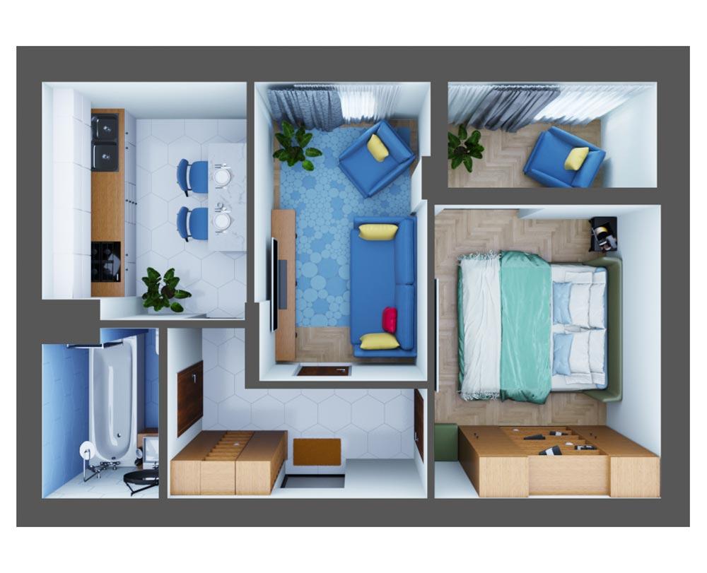 2-кімнатна квартира (53,11 м2)