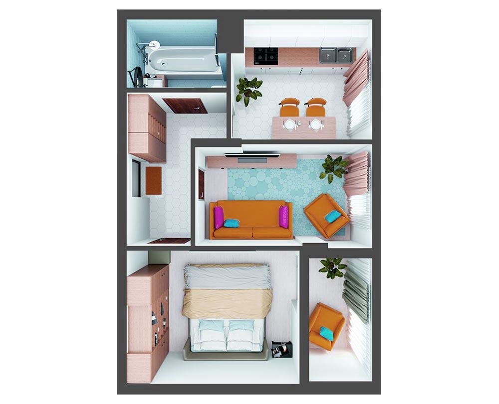 2-кімнатна квартира (54.00 м2)