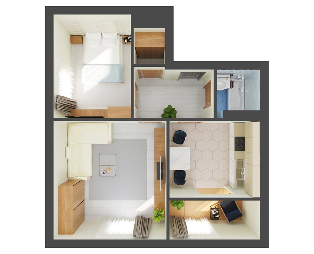 2-комнатная квартира 55,28 м2