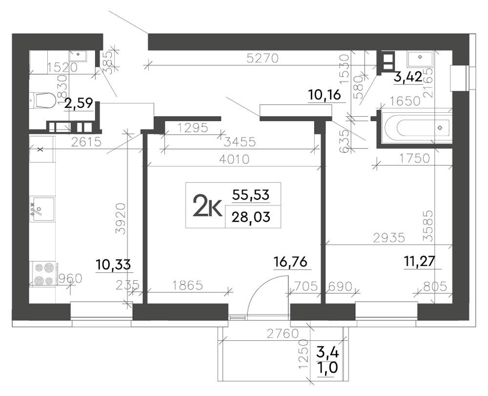 2-комнатная квартира (55,53 м2)