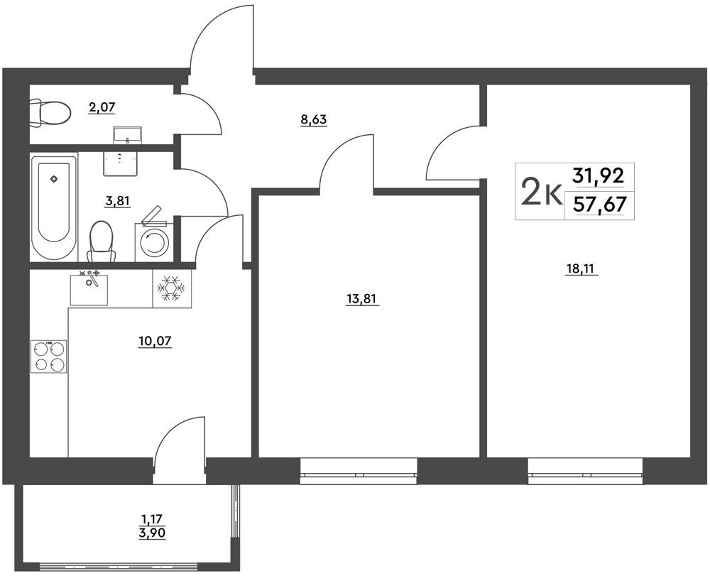 2-комнатная квартира (57,67 м2)