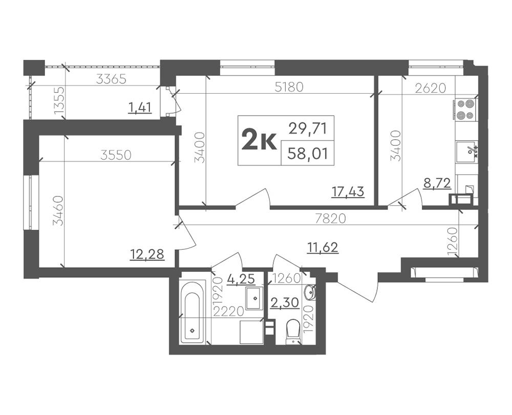 2-кімнатна квартира 58,01 м2