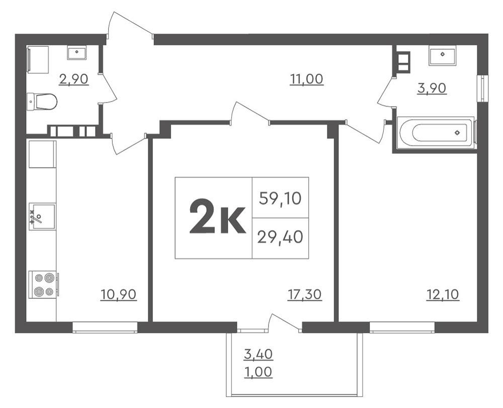 2-кімнатна квартира (59.10 м2)
