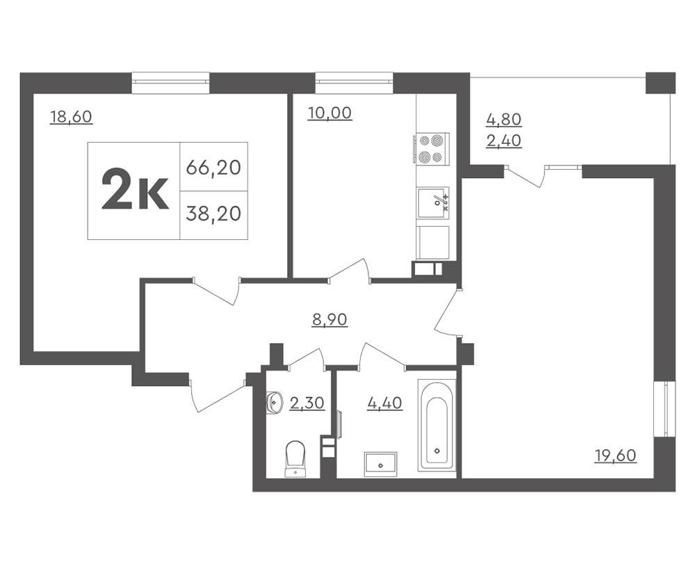 2-кімнатна квартира (66,20 м2)
