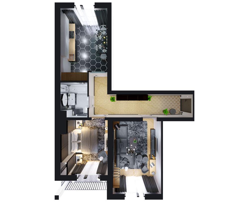 2-кімнатна квартира (68,00 м2)