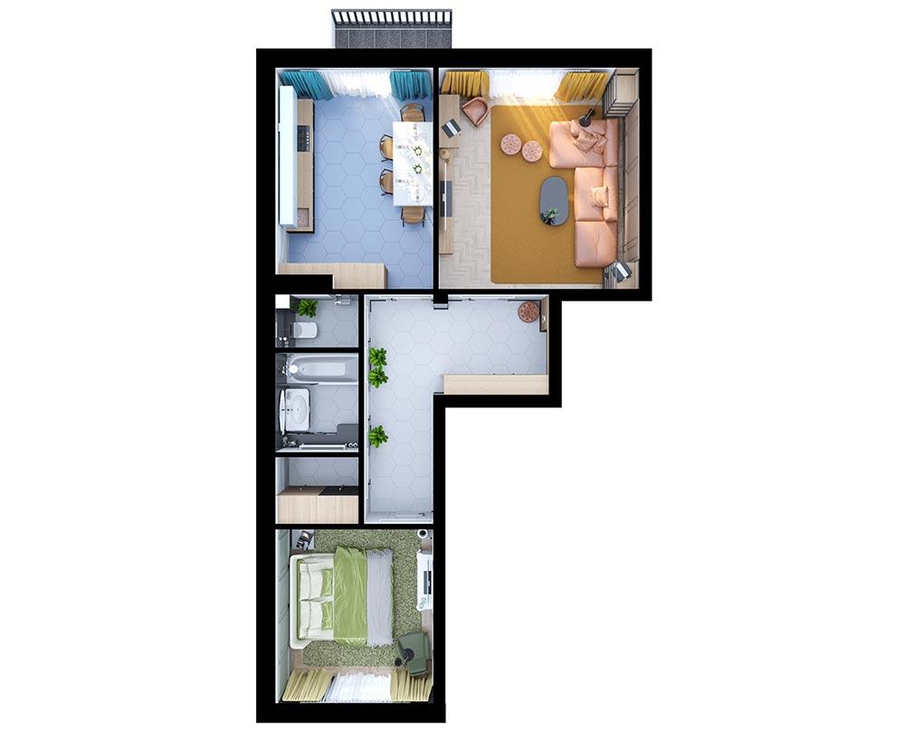 2-комнатная квартира (71,31 м2)