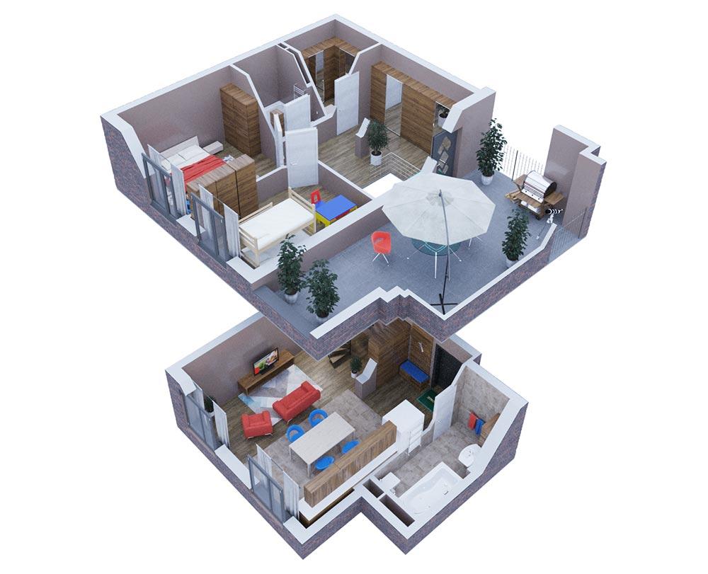 2-кімнатна з терасою (83,87 м2)