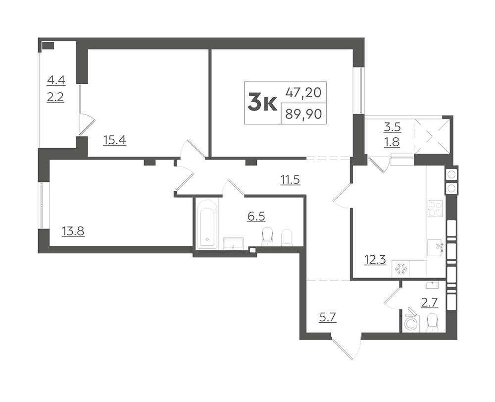 3-кімнатна квартира 89,90 м2