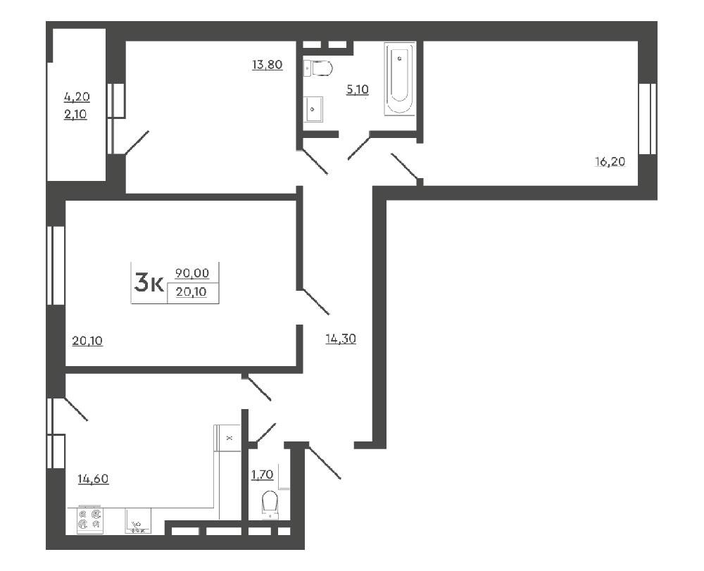 3-комнатная квартира (90,00 м2)