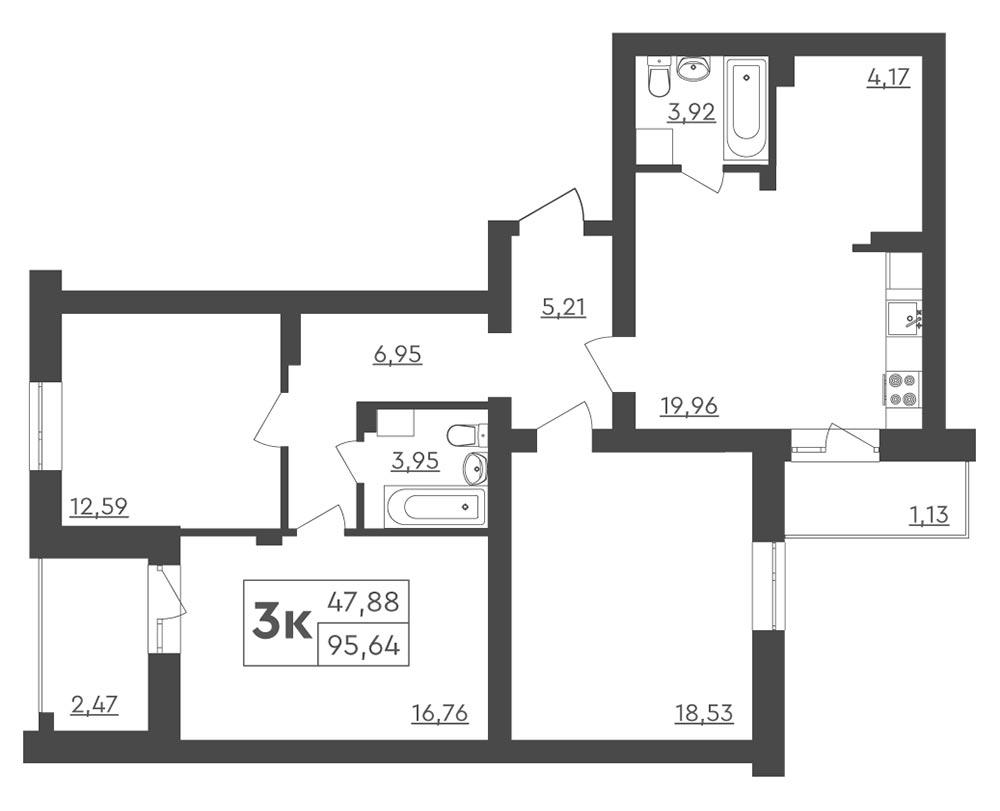 3-кімнатна квартира 95,64 м2