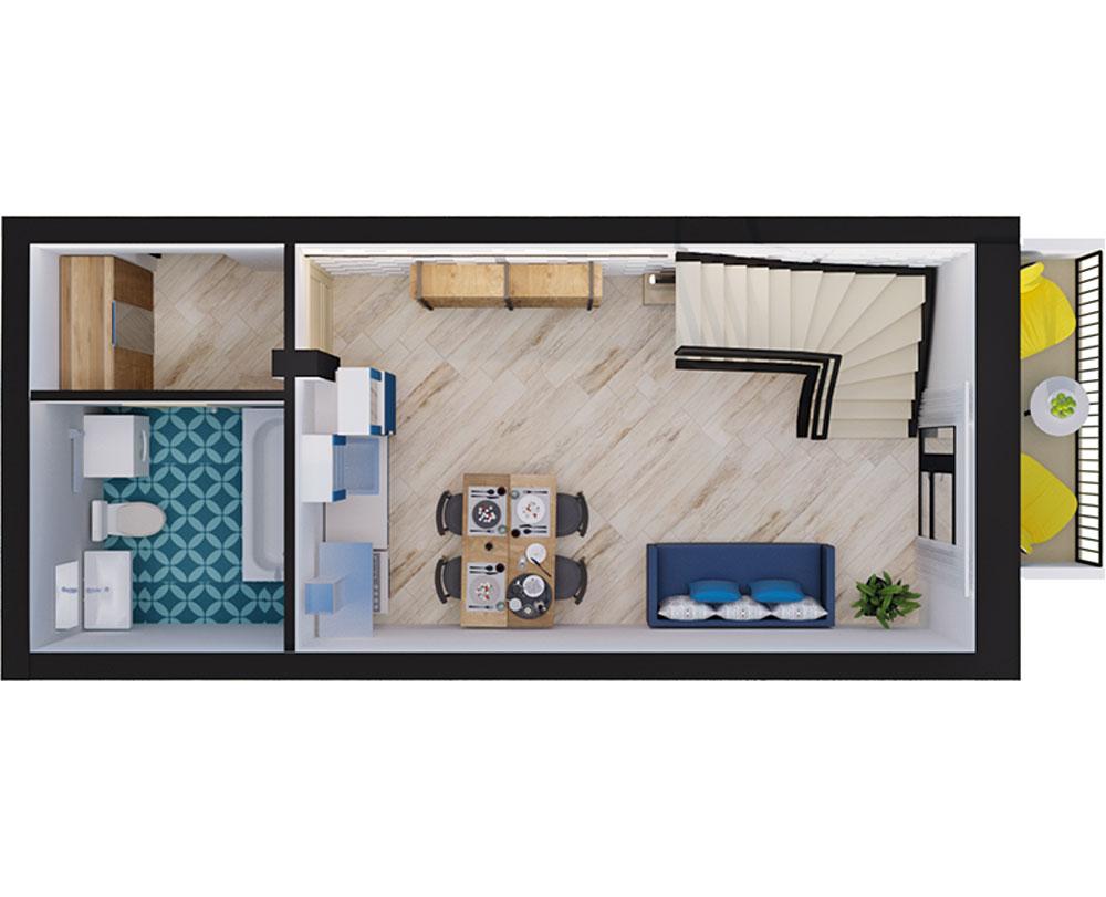 1-комнатная Scandia (49,31 м2)