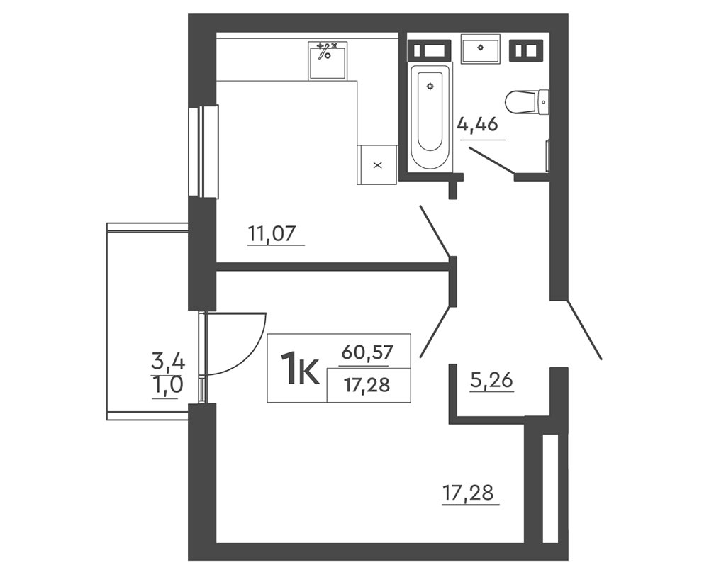 1-кімнатна Scandia (60,57 м2)