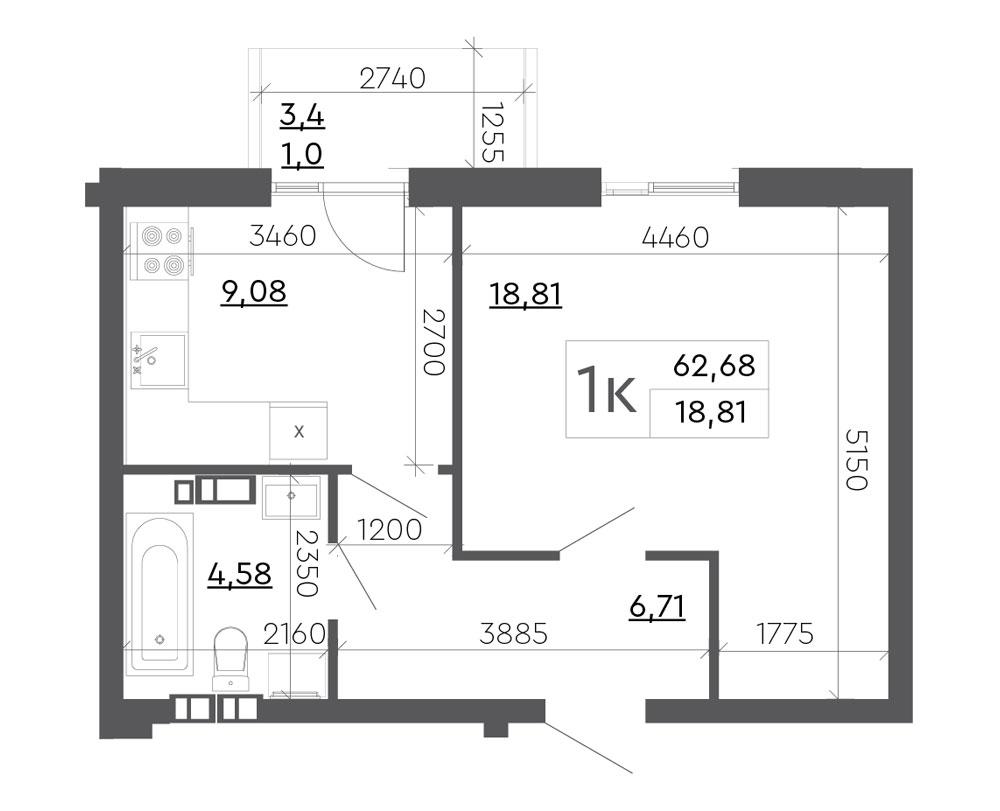 1-комнатная Scandia (62,68 м2)