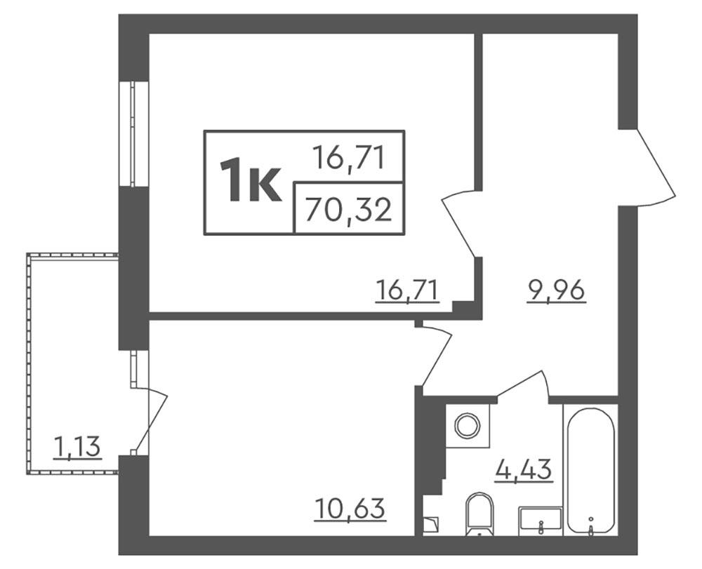 1-кімнатна Scandia (70,32 м2)