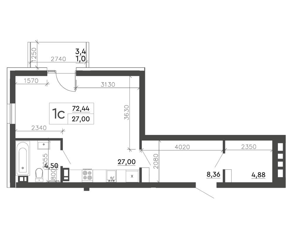 1-комнатная Scandia (72,44 м2)